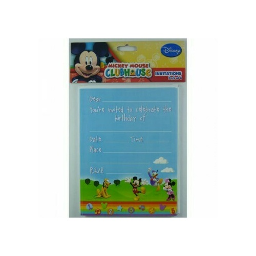 Mickey Mouse Clubhouse Invitations (19.5cm High x 14.5cm Wide) 8 Pack