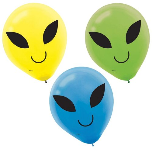 30cm Blast Off Birthday Printed Latex Balloons 15 Pack