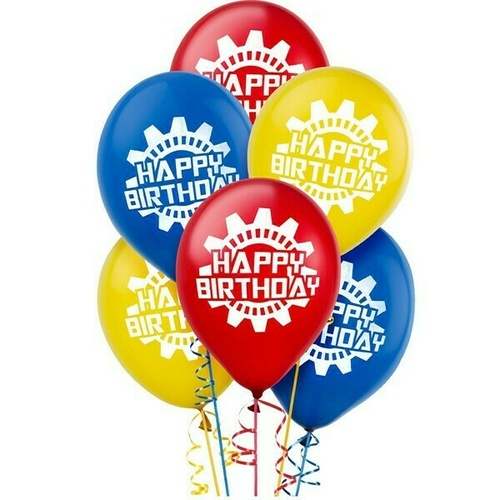 Robots Happy Birthday Latex Balloons 30cm 6 Pack