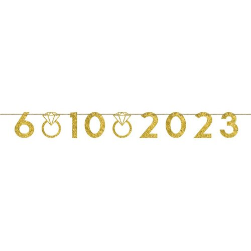 Wedding Customizable Numbers & Rings Banner Gold Glittered