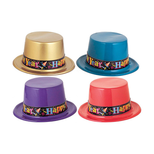 New Year's Plastic Top Hat