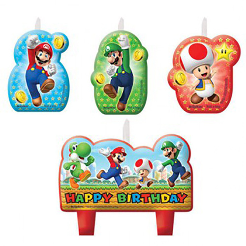Super Mario Brothers Candle Set Happy Birthday 4 Pack