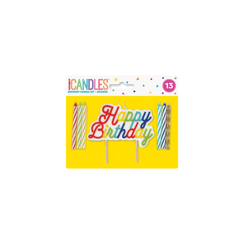 12 Spiral Candles With Rainbow Happy Birthday Cake Decoration