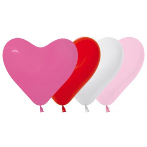 15cm Hearts Love Fashion Assorted Latex Balloons 50 Pack