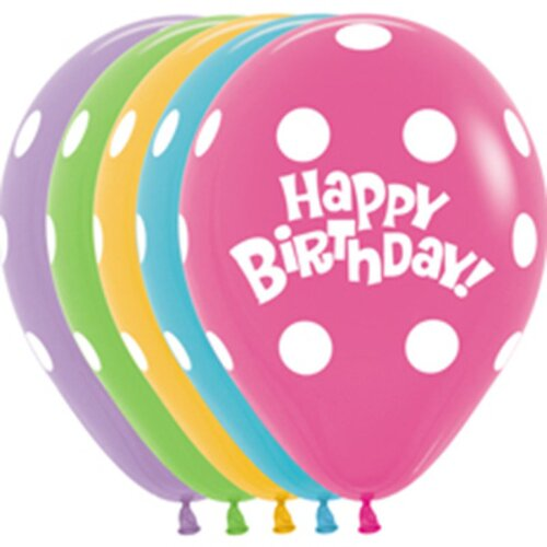 30cm Happy Birthday & Dots Assorted Latex Balloons 12 Pack