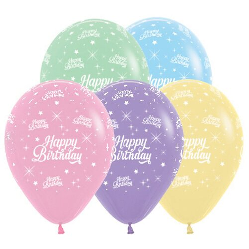 30cm Happy Birthday Twinkling Stars Pastel Assorted Latex Balloons,  25 Pack
