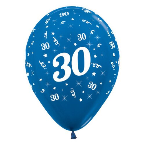 30cm Age 30 Metallic Blue Latex Balloons 25 Pack