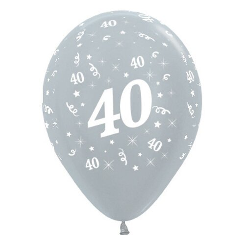 30cm Age 40 Satin Pearl Silver Latex Balloons 25 Pack