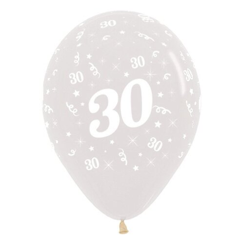30cm Age 30 Crystal Clear Latex Balloons 6 Pack