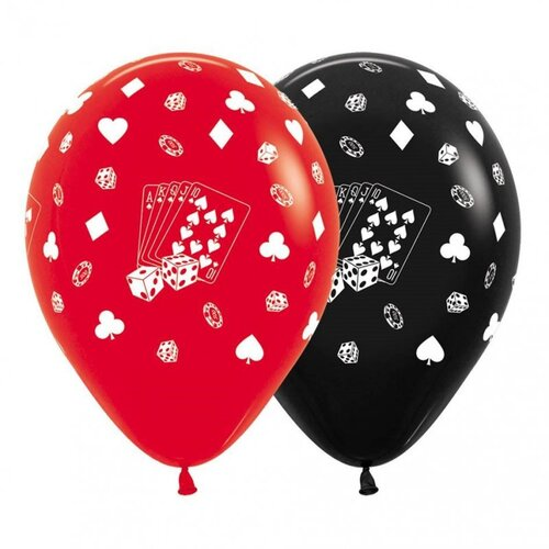 Casino Cards & Suits Red & Black  30cm 12 Pack Balloons