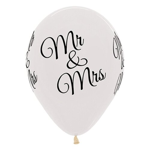 30cm Mr & Mrs Crystal Clear Latex Balloons 25 Pack