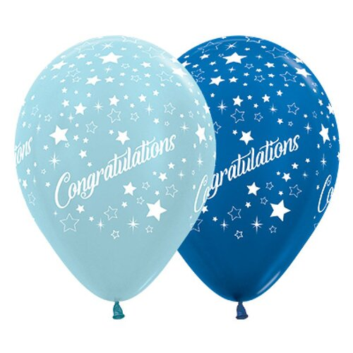 30cm Congratulations Stars Satin Pearl Blue & Metallic Blue Latex Balloons 25 Pack
