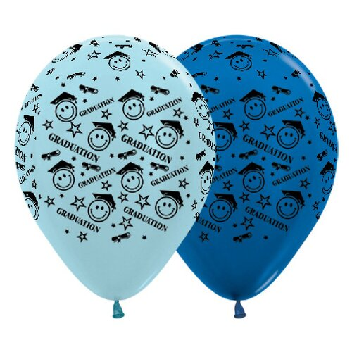 30cm Graduation Smiley Faces Satin Pearl Blue & Metallic Blue Latex Balloons 25 Pack