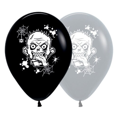 30cm Zombie Horror Fashion Black & Grey Latex Balloons 25 Pack