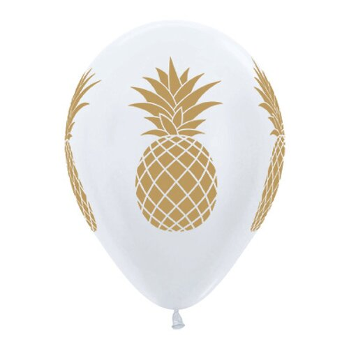 Sempertex 30cm Tropical Pineapple Satin Pearl White & Gold Ink Latex Balloons 6 Pack