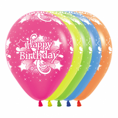 30cm Happy Birthday Neon Party Assorted Latex Balloons 12 Pack