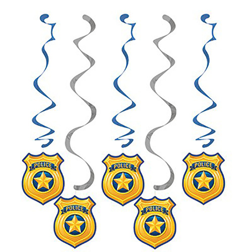 Police Party Dizzy Danglers Hanging Decorations 5 Pack