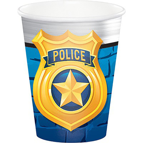 Police Party 266ml 8 Pack Paper Cups