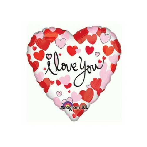 45cm Love You Hearts Equal Love (45cm) Foil Self-Sealing Balloon