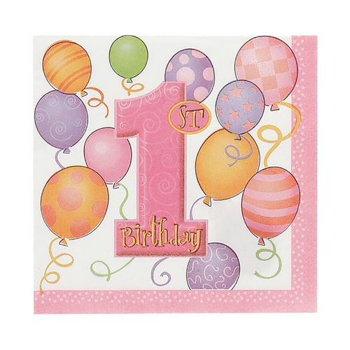 1st Balloons Pink 16 Lunch Napkins