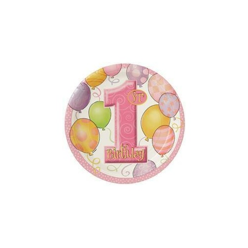 1st Balloons Pink Paper Plates 18cm 8 Pack