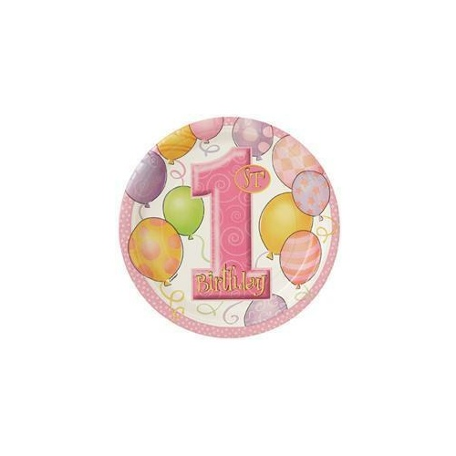 1st Balloons Pink Paper Plates 23cm 8 Pack
