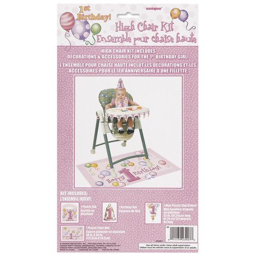 1st Balloons Pink High Chair Kit