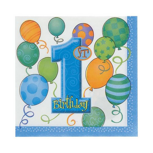 1st Balloons Blue Luncheon Napkins 16 Pack