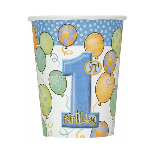 1st Balloons Blue Paper Cups 8 Pack 270ml