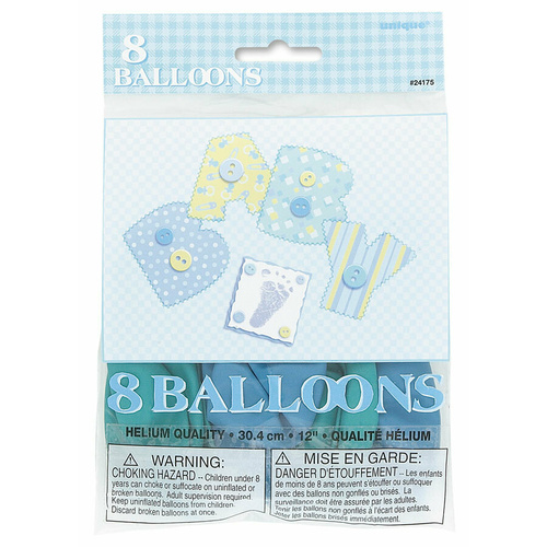 Baby Blue stitching 8 x 30cm (12) Balloons
