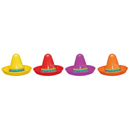 Fiesta Mini Plastic Sombrero Assorted 8 Pack