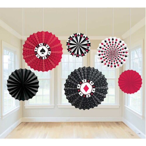 Casino Place Your Bets Paper Fan Hanging Decorations 6 Pack