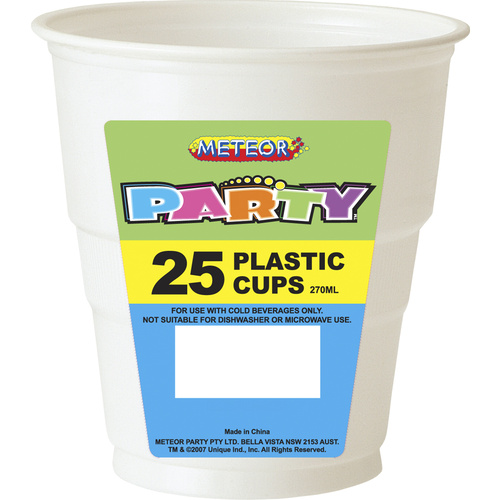 White Plastic Cups 270ml 25 Pack