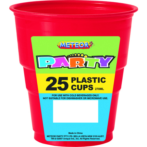 Red Plastic Cups 270ml 25 Pack