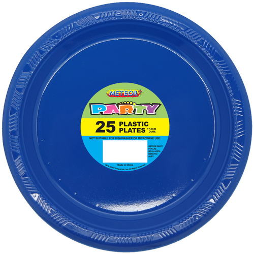 Royal Blue  Plastic Plates 25cm 8 Pack