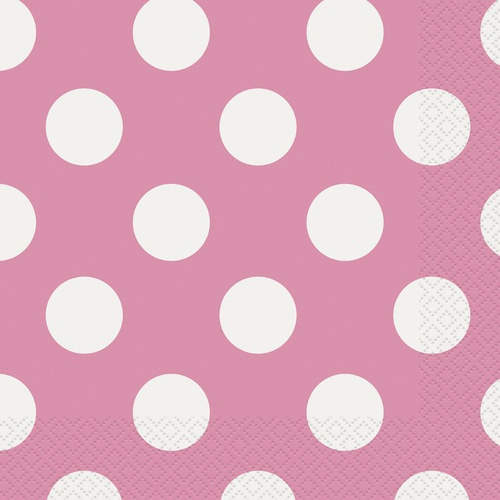 Dots Hot Pink Luncheon Napkins 2ply 16 Pack