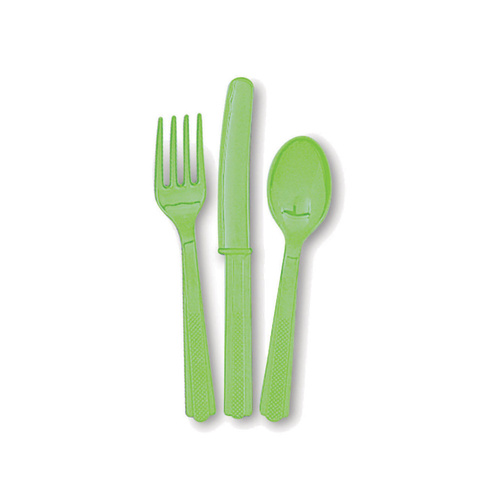 Lime Green 24 Assorted Cutlery