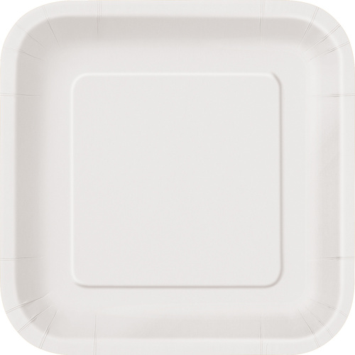 Bright White 16x7 Sq Paper Plates