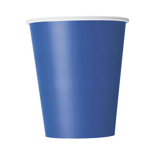 Royal Blue Paper Cups 270ml 8 Pack