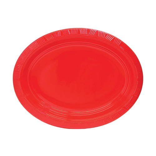 Ruby Red Oval Plastic Plates 30cm x 23cm 5 Pack