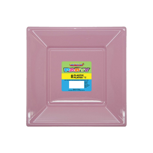 Lovely Pink 8 x 7 Sq Plastic Plates
