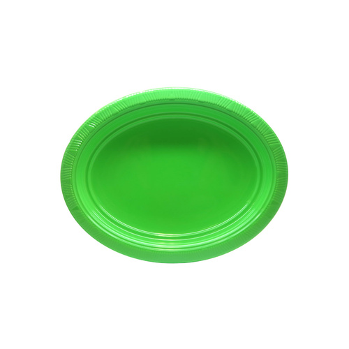 Lime Green Oval Plastic Plates 23cm x 30cm 5 Pack