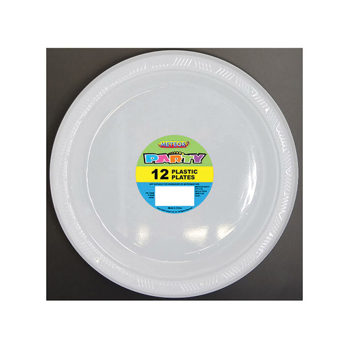 Bright White  18cm 12 Pack Plastic Plates