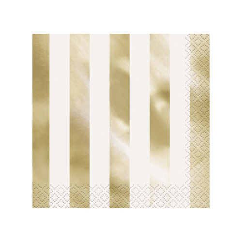 Gold Foil stripe Luncheon Napkins 2ply 16 Pack