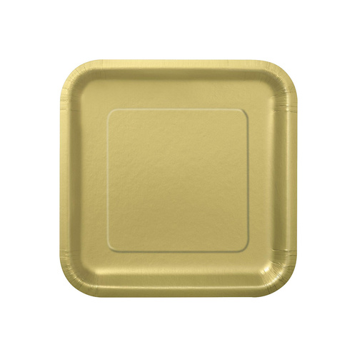 Gold Square Paper Plates 22cm 14 Pack