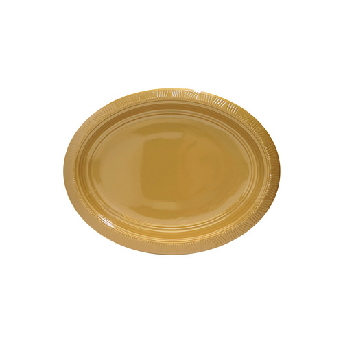 Gold 5 x Oval Plastic Plates