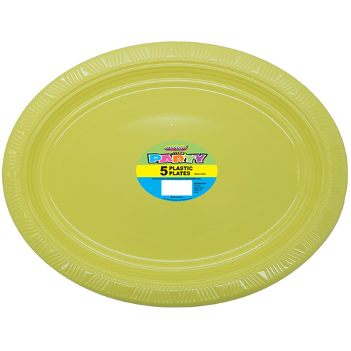 Soft Yellow Oval Plastic Plates 30cm x 23cm 5 Pack