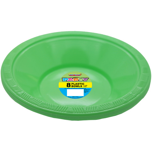 Apple Green 18cm 8 Pack Plastic Bowls