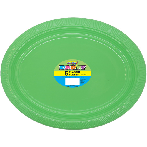 Apple Green Oval 23cm 5 Pack Plastic Plates