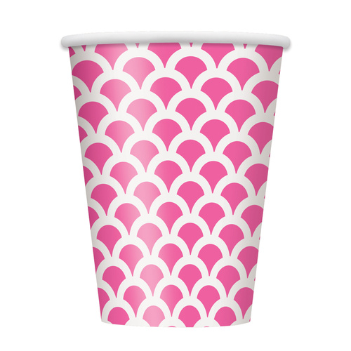 Scallop Hot Pink Paper Cups 355ml 6 Pack